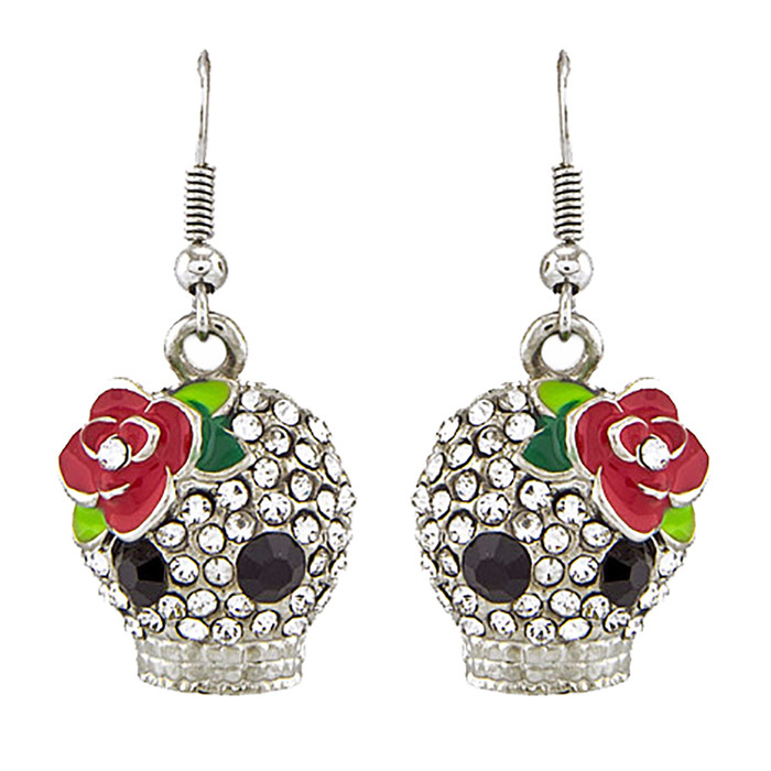 Halloween Costume Jewelry Crystal Rhinestone Rose Skull Earrings E1154 Silver