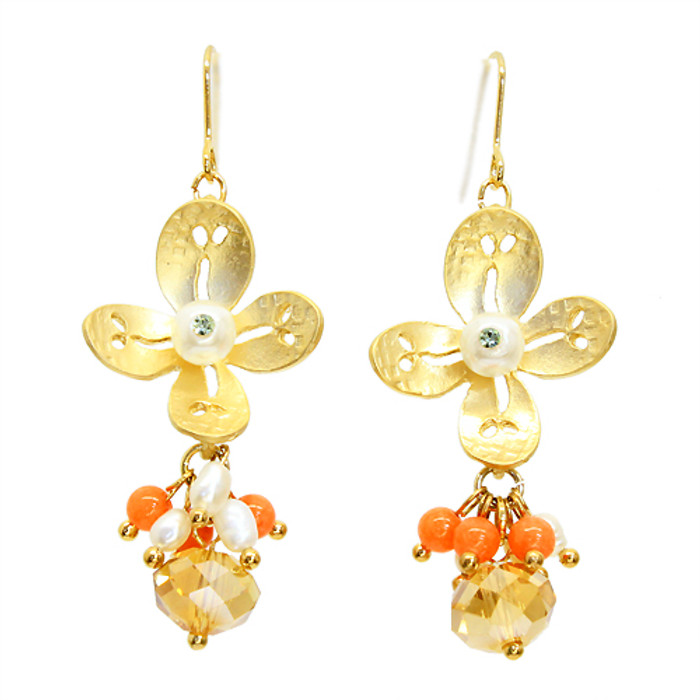 Semiprecious Crystal Cluster Drop Flower Earrings Gold