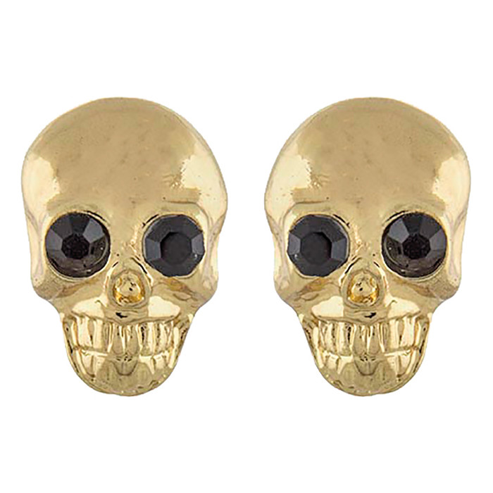 Halloween Costume Jewelry Crystal Rhinestone Skull Head Earrings E1180 Gold