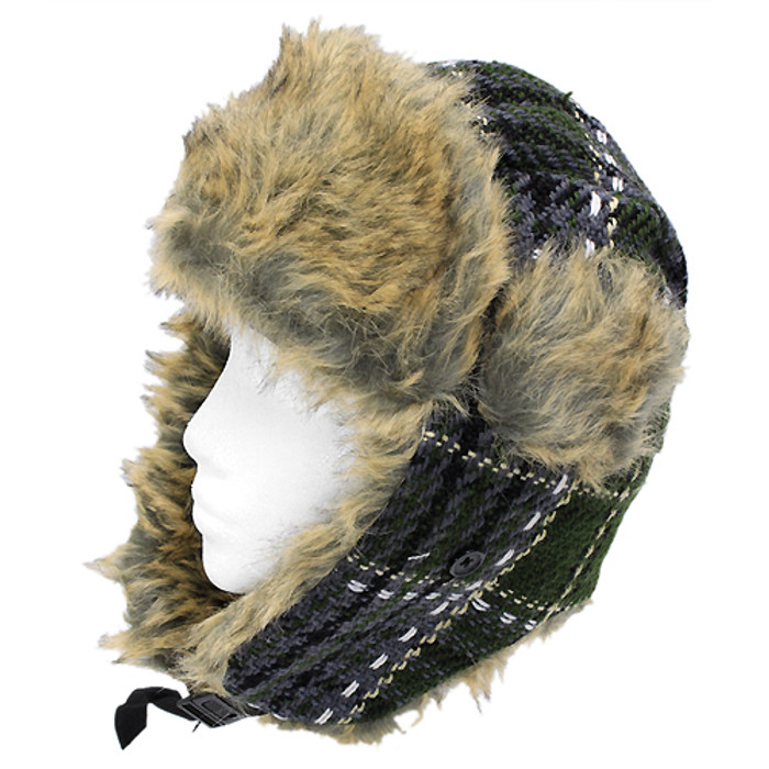 Plaid Design Faux Fur Trooper Aviator Trapper Cold Weather Winter Ski Cap Hat GN
