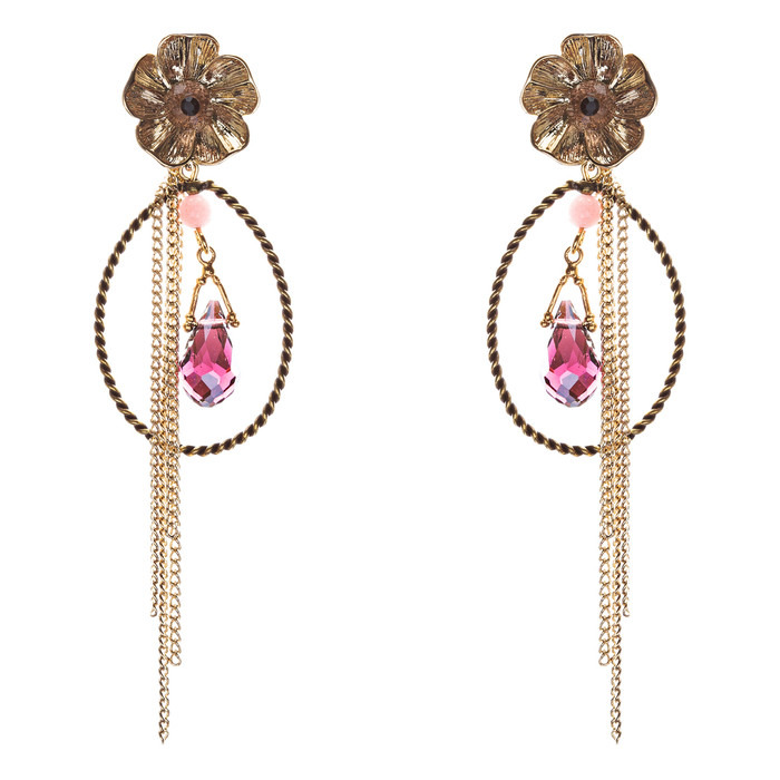 Semiprecious Flower & Chain Tear Drop Earrings Gold