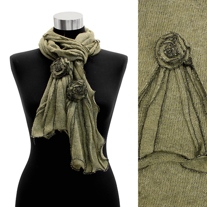 Corsage Decorated Ruffle Edged Scarf Green