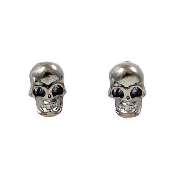 Halloween Costume Jewelry Fun Fashion Skull Mini Stud Earrings Hematite
