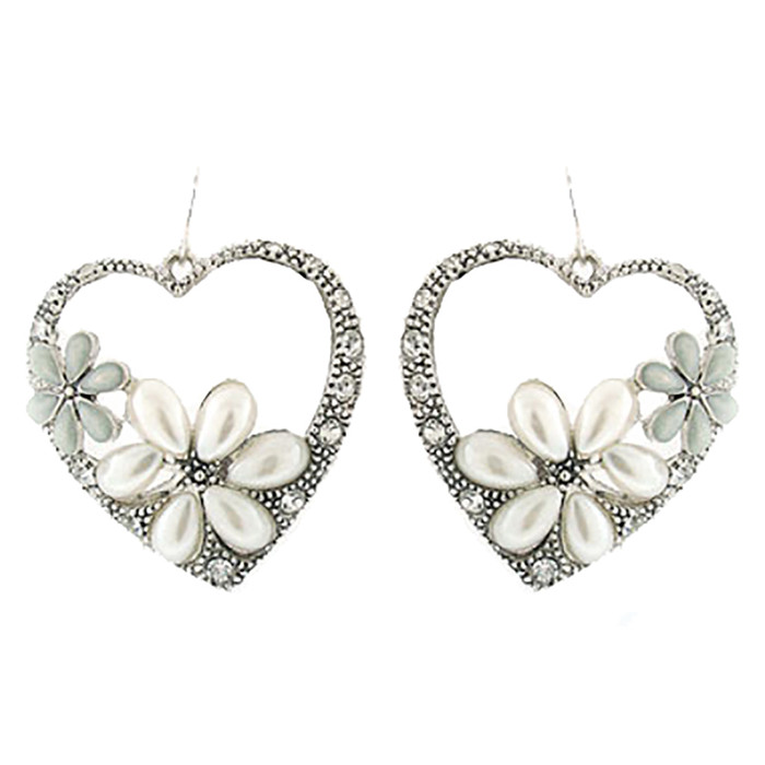 Gorgeous Flower Crystal Rhinestone Fashion Heart Dangle Earrings Silver