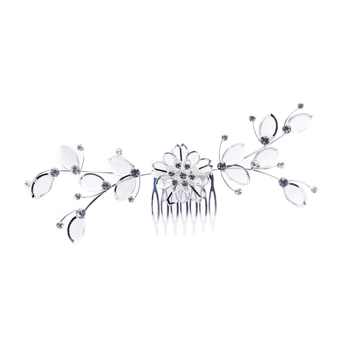 Bridal Wedding Jewelry Crystal Rhinestone Mesh Floral Leaf Drape Hair Comb Pin
