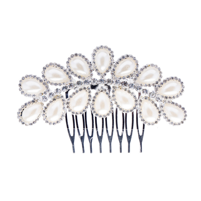 Bridal Wedding Jewelry Crystal Rhinestone Teardrop Pearl Linear Hair Comb Pin