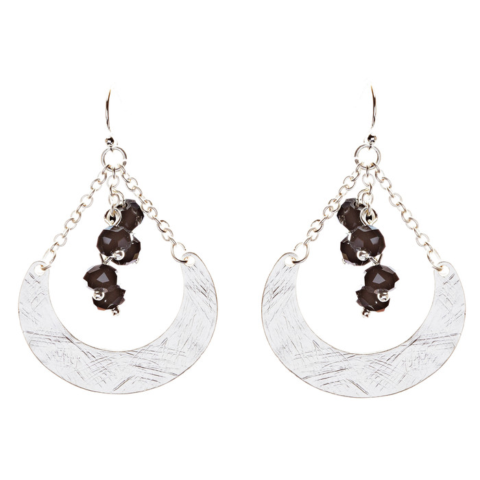 Crystal Cluster Hand Polished Drop Earrings Black