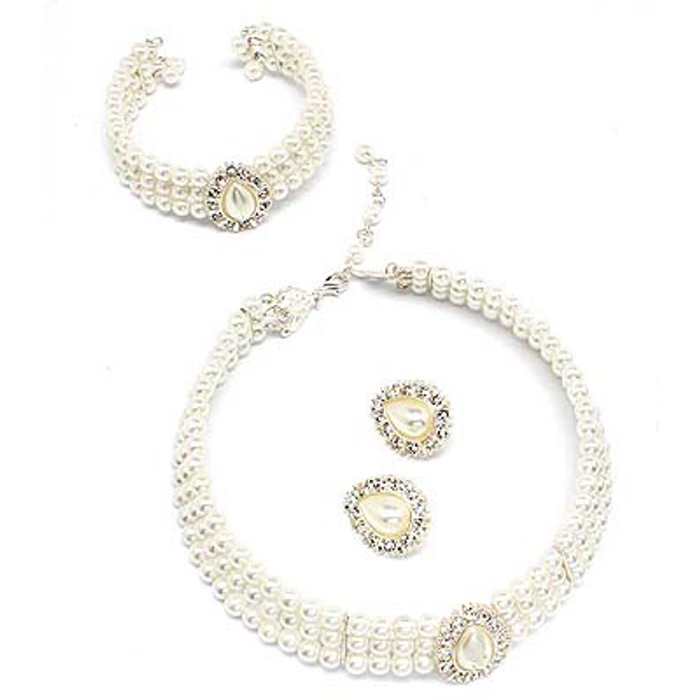 Bridal Jewelry Set Pearl 4 Pcs Necklace Bracelet White