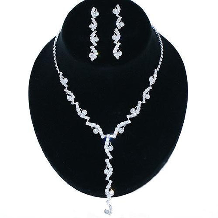 Bridal Wedding Jewelry Set Rhinestone Swirl Y Drop JS00182