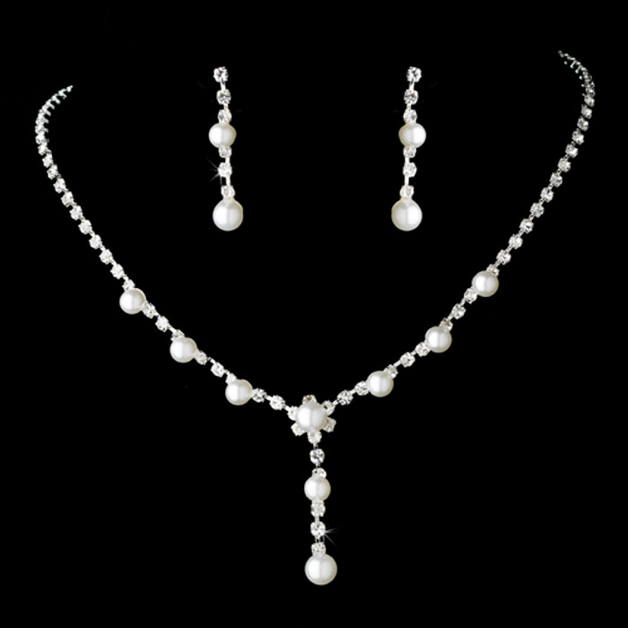Bridal Wedding Jewelry Set Rhinestone Pearl Line Y Drop