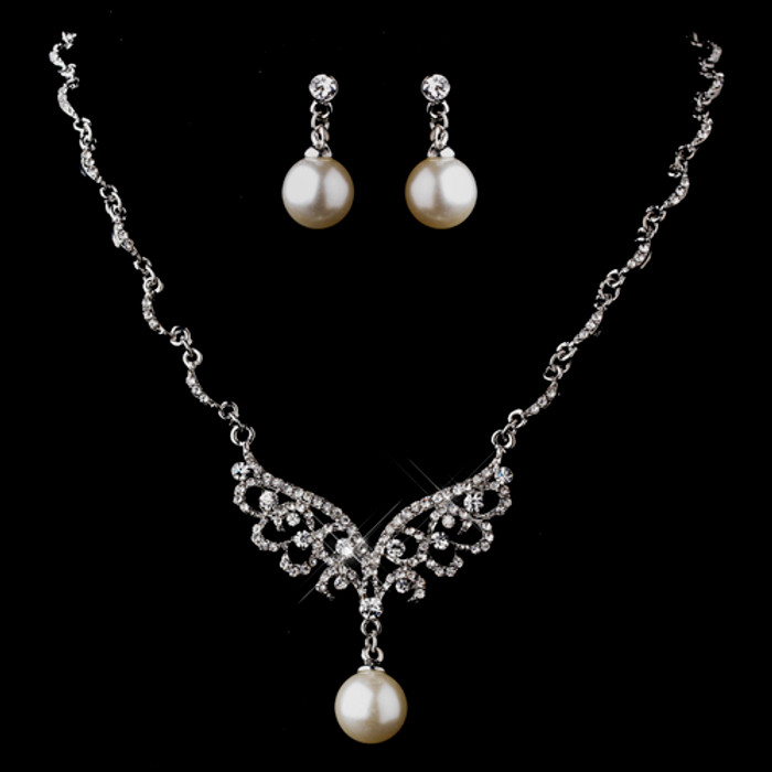Bridal Wedding Jewelry Set Necklace Crystal Rhinestone Pearl Silver White Wing