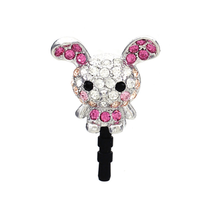 Earphone Dustproof Plug Stopper Phone Ear Cap Crystal Rhinestone Rabbit Pink