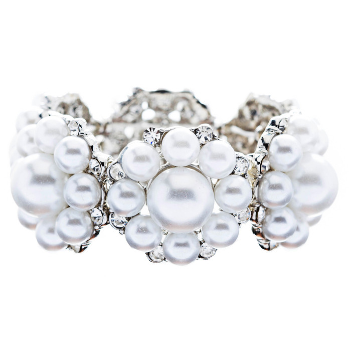 Bridal Wedding Jewelry Gorgeous Crystal Pearl Flower Stretch Bracelet Silver WT