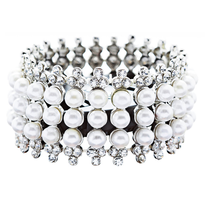 Bridal Wedding Jewelry Stunning 3 Rows Pearl Crystal Stretch Fashion Bracelet