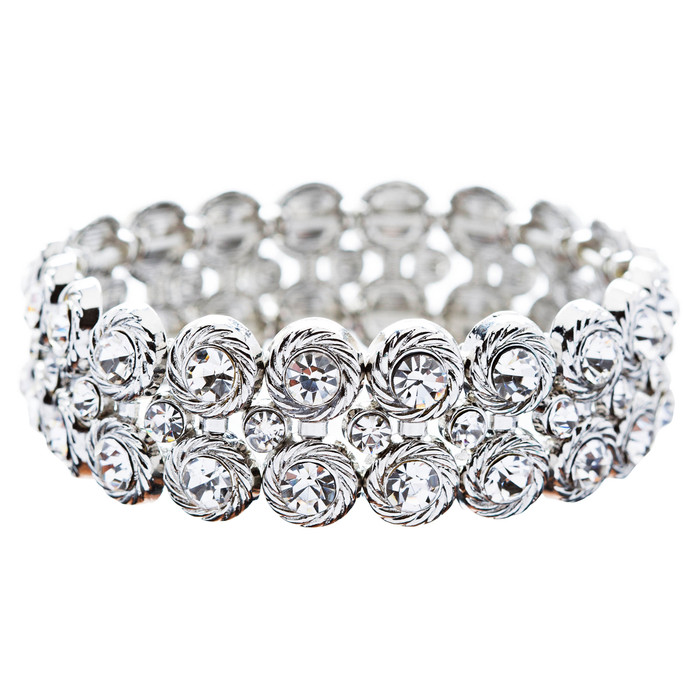 Bridal Wedding Jewelry Stunning Chic Crystal Rhinestone Stretch Bracelet Silver