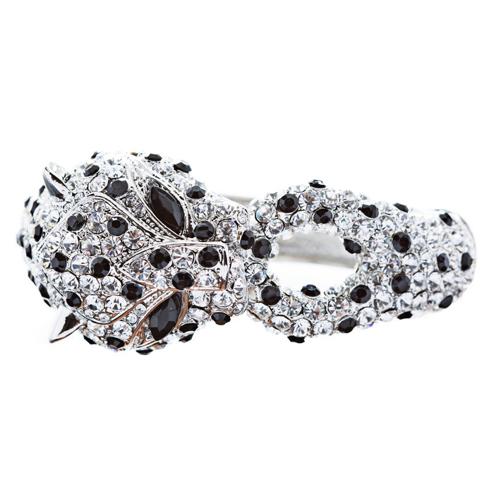 Fashion Jewelry Crystal Rhinestone Gorgeous Leopard Bracelet Silver