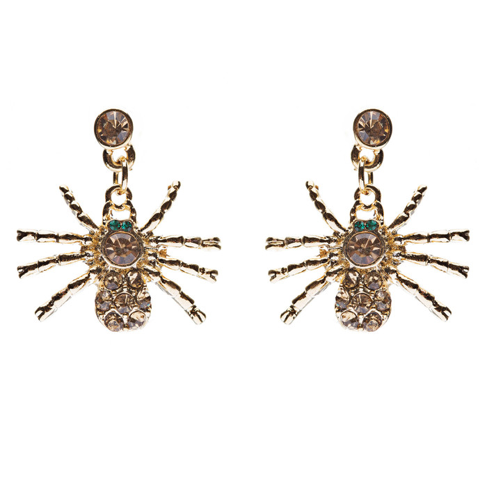 Halloween Costume Jewelry Spider Crystal Dangle Charm Earrings Gold Topaz