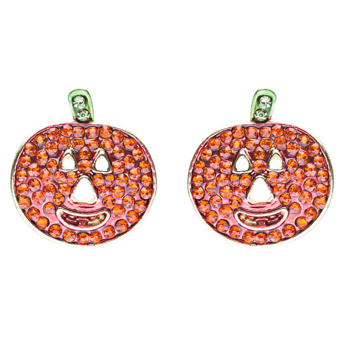 Halloween Costume Jewelry Crystal Rhinestone Happy Pumpkin Stud Earrings Orange