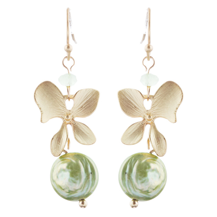 Freshwater Pearl Floral Dangle Drop Earrings Gold Green