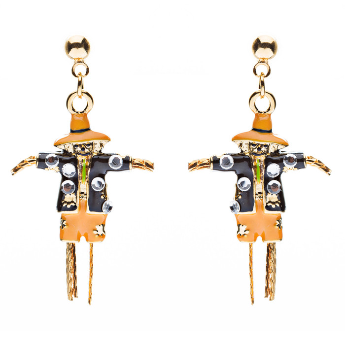 Halloween Costume Jewelry Dazzle Crystal Scarecrow Dangle Earrings Orange Gold
