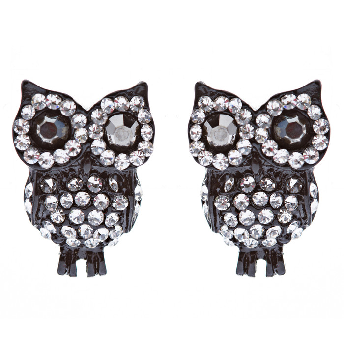 Fashion Adorable Owl Design Crystal Rhinestone Stud Post Earrings Black Clear