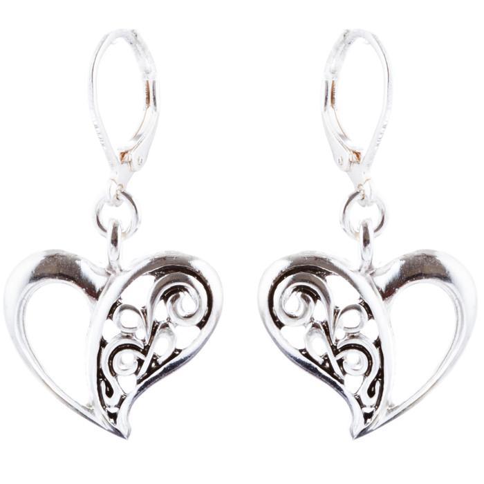 Abstract Open Heart Drop Dangle Earring Antique Silver