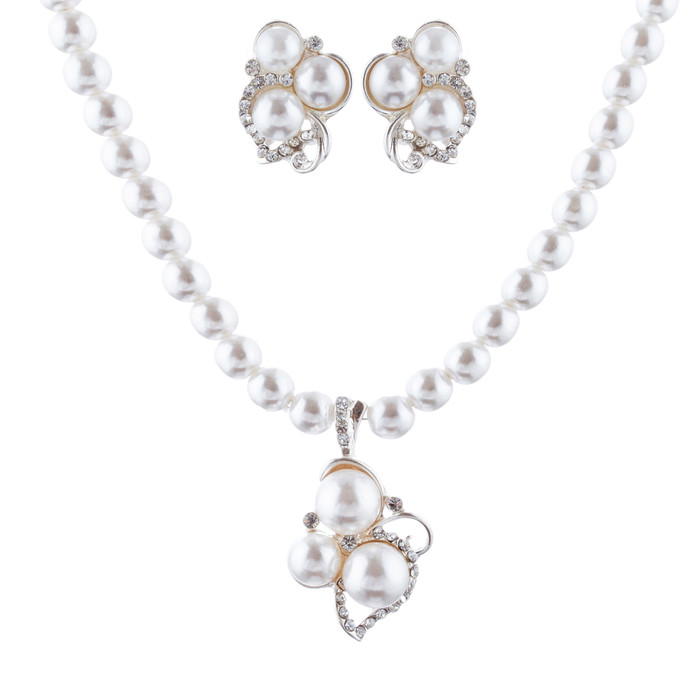 Bridal Wedding Jewelry Set Crystal Rhinestone Pearl Cluster Stud Necklace Silver