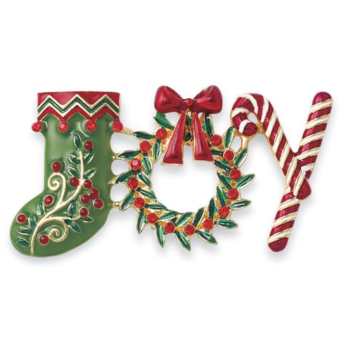 Christmas Jewelry Holiday Crystal JOY Sock Wreath Candy Cane Brooch BH221 MT