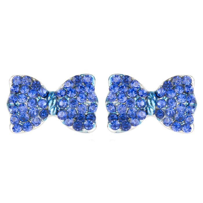 Adorable Sparkling Crystal Rhinestone Bow Tie Design Fashion Earrings E1190 Blue