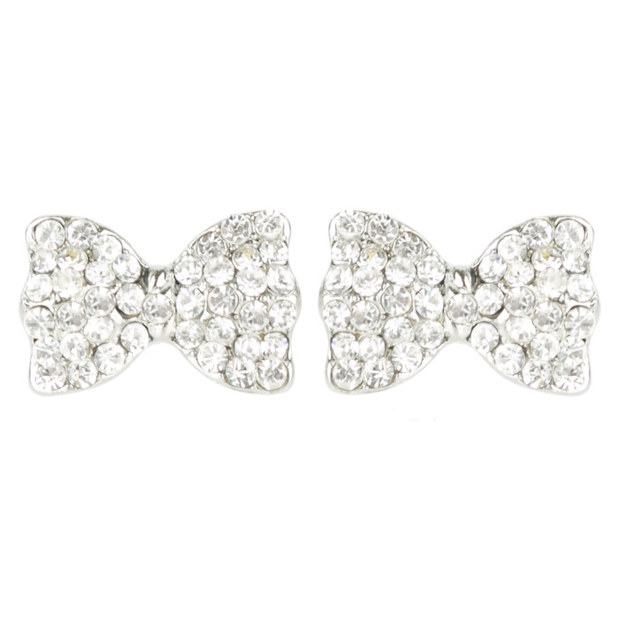 Adorable Sparkling Crystal Rhinestone Bow Tie Design Fashion Earrings E1190 SV