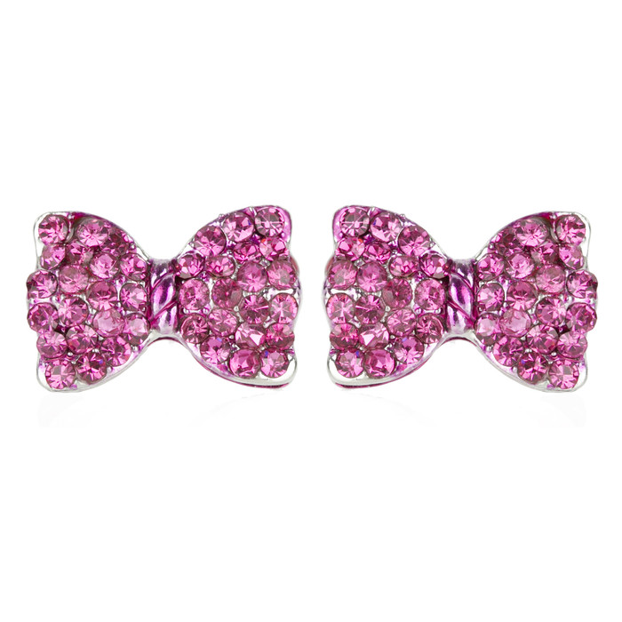 Adorable Sparkling Crystal Rhinestone Bow Tie Design Fashion Earrings E1190 Pink