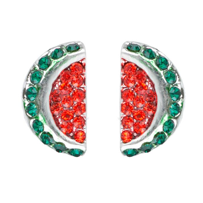 Adorable Crystal Rhinestone Watermelon Fruit Charm Stud Post Earrings E1191 Red