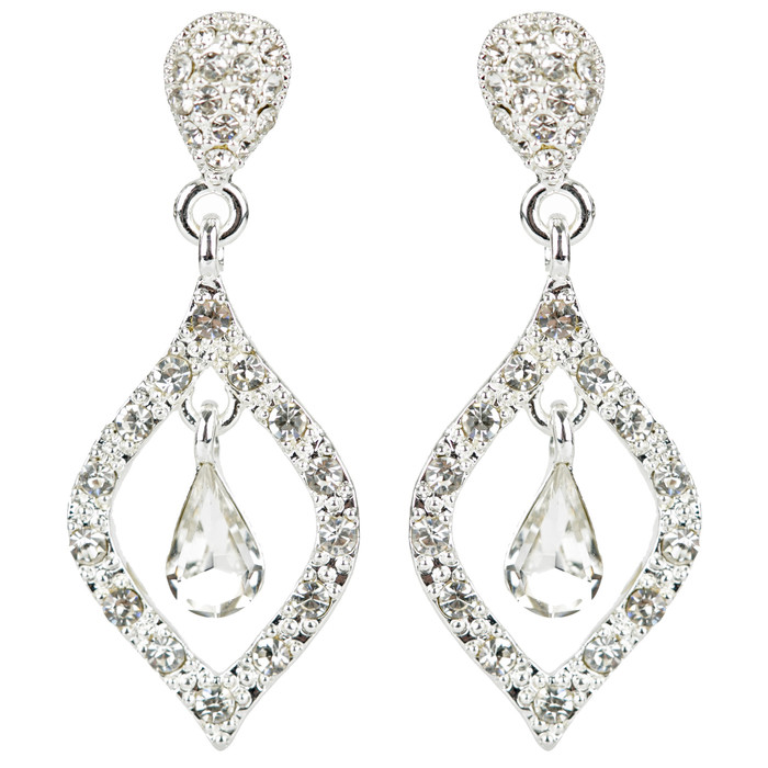 Bridal Wedding Prom Jewelry Classic Sparkling Crystal Rhinestone Earrings E1193