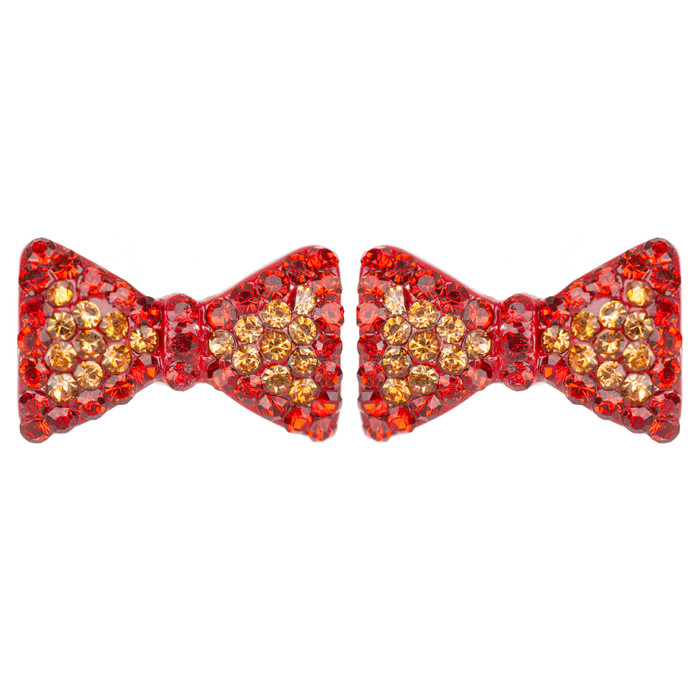 Cute Crystal Rhinestone Bow Tie Design Charm Stud Post Earrings E1196 Red