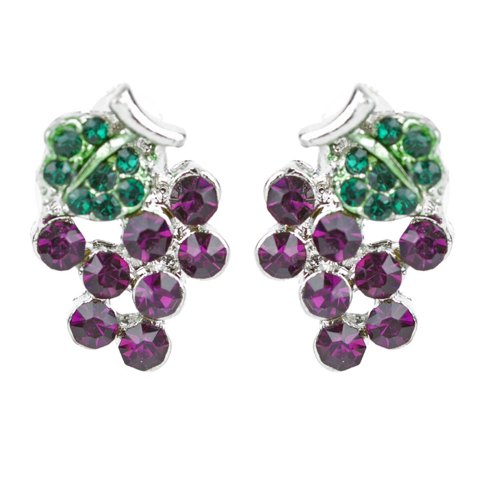 Adorable Crystal Rhinestone Grape Fruit Charm Stud Post Earrings E1198 Purple