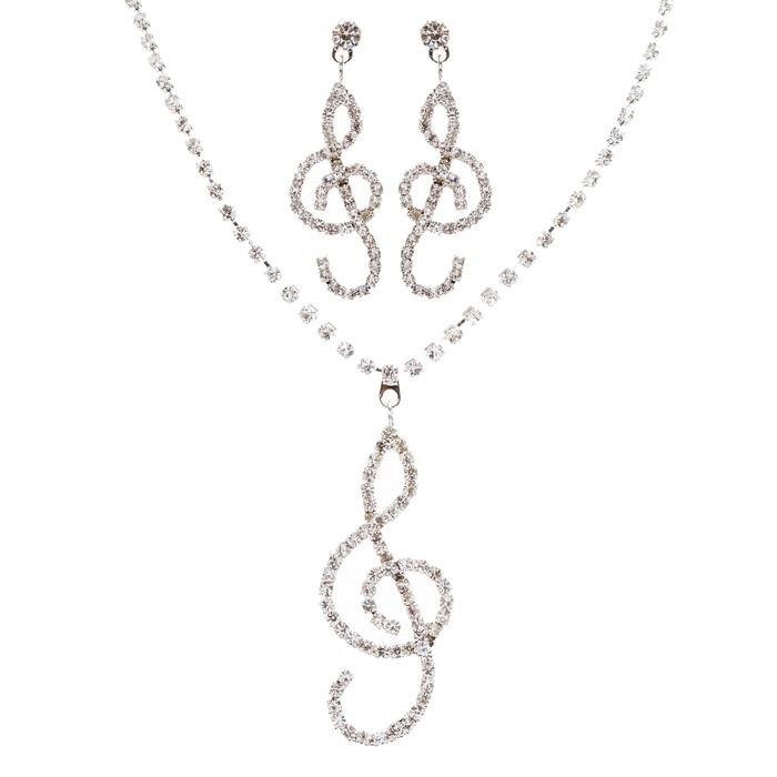 Beautiful Dazzling Music Charm Crystal Rhinestone Necklace Set J461 Silver