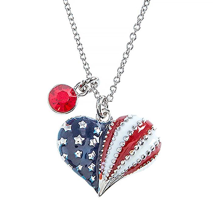 Patriotic Jewelry Crystal Rhinestone Heart Charm Fashion Necklace N110 Silver