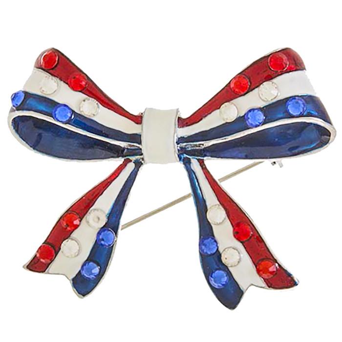 Patriotic Jewelry American Flag Crystal Rhinestone Ribbon Bow Brooch BH224 SV
