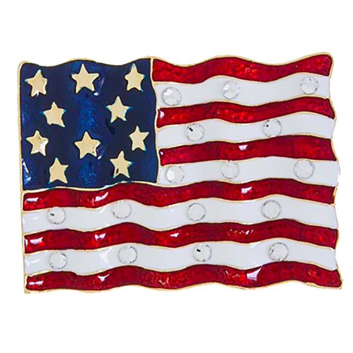 Patriotic Jewelry American Flag Crystal Rhinestone Brooch Pin BH225 Gold
