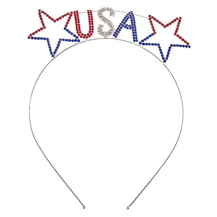 Patriotic Jewelry American Flag Crystal Rhinestone Star USA Headband HA485 SV