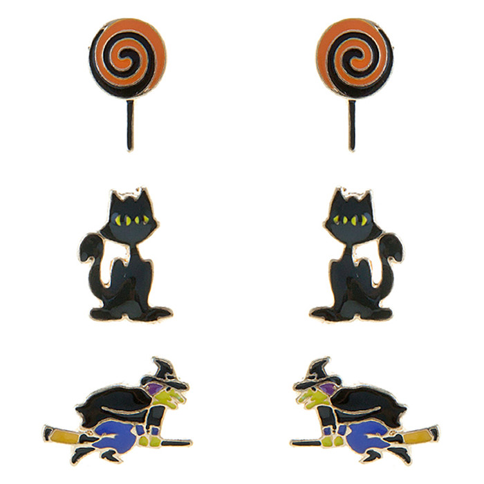 Halloween Costume Jewelry Lollipop Cat Witch 3 Sets Mini Earrings E1221