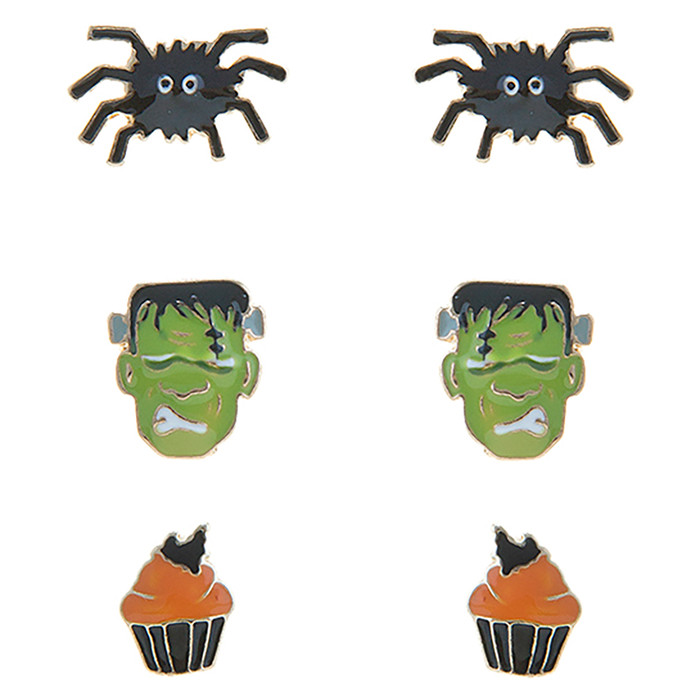 Halloween Costume Jewelry Spider Frankenstein Cupcake 3 Sets Mini Earrings E1221