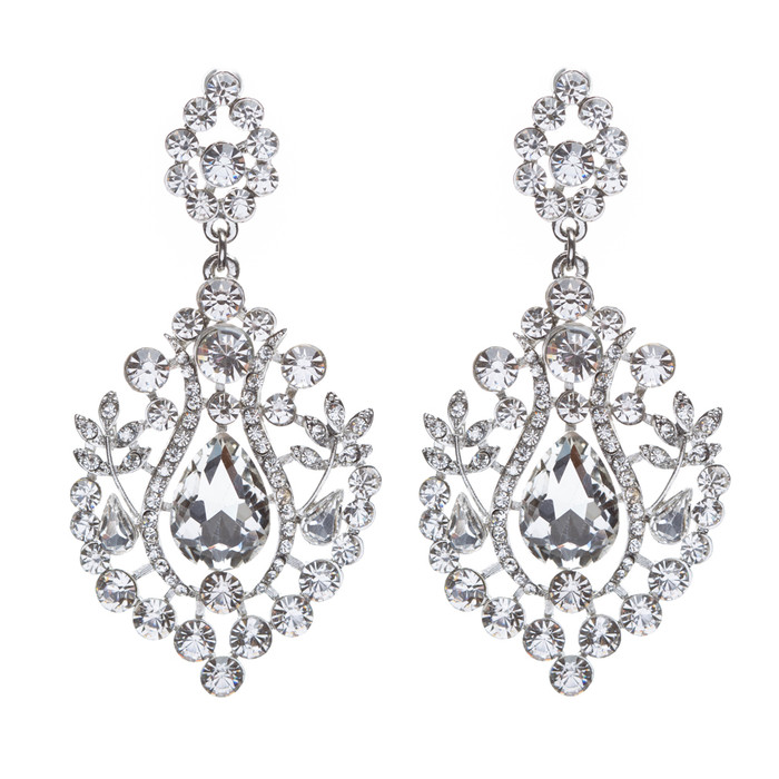 Bridal Wedding Jewelry Crystal Rhinestone Dangle Drop Earrings Silver E635