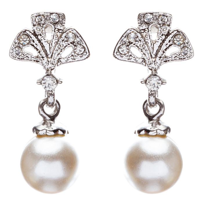 Bridal Wedding Jewelry Crystal Rhinestone Pearl Trendy Chic Dangle Earrings E869