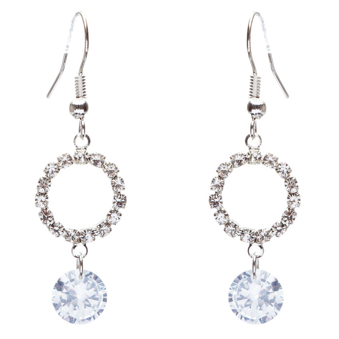Bridal Wedding Jewelry Prom Crystal Rhinestone Classic Dangle Earrings E870
