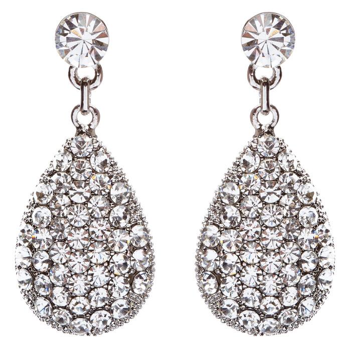 Bridal Wedding Prom Jewelry Crystal Rhinestone Teardrop Dangle Earrings E873