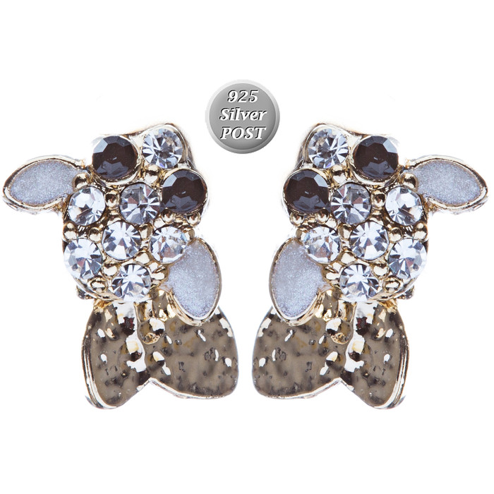 Adorable Crystal Accent Fish Tiny Stud Style Fashion Earrings E504 Gold White