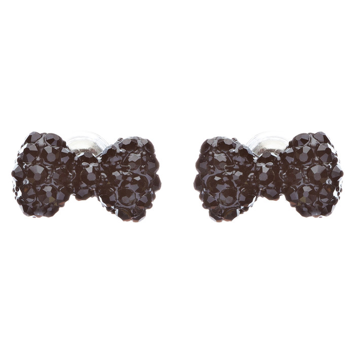 Adorable Mini Bow Tie Ribbon Sweet Fashion Stud Style Earrings E872 Black
