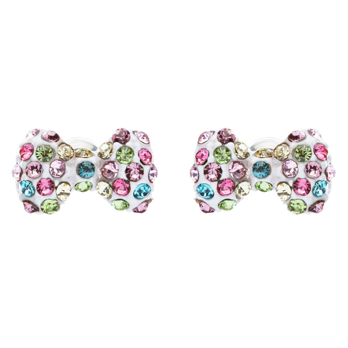 Adorable Mini Bow Tie Ribbon Sweet Fashion Stud Style Earrings E872 Multi