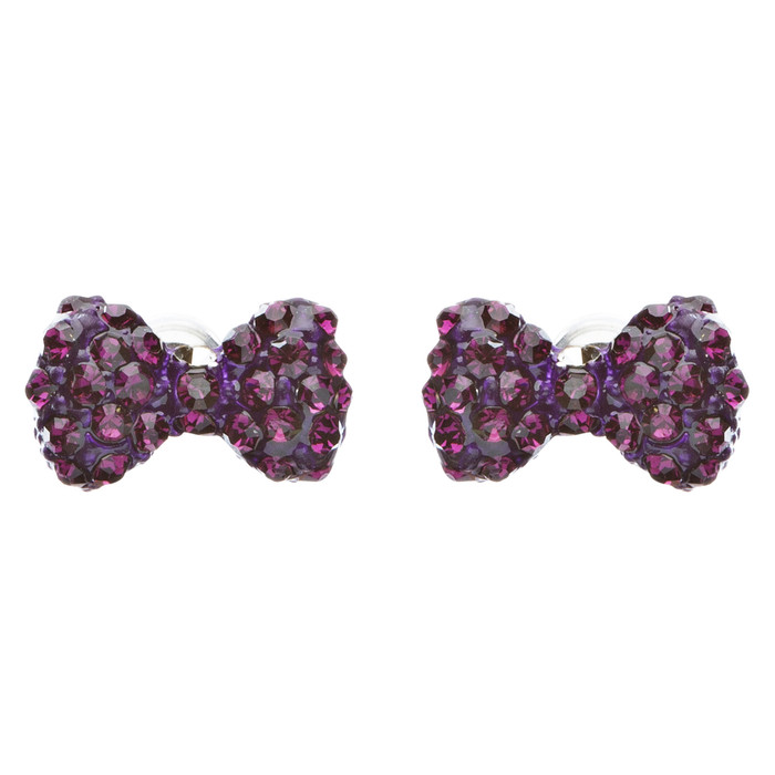 Adorable Mini Bow Tie Ribbon Sweet Fashion Stud Style Earrings E872 Purple